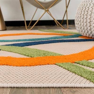 Modern Boxes Multi 2 ft. x 7 ft. Abstract Indoor/Outdoor Runner Rug