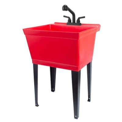 22.875 in. x 23.5 in. Thermoplastic Freestanding Red Utility Sink Set with Non-Metallic Black Finish Pull-Out Faucet