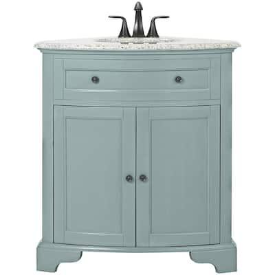 Hamilton 31 in. W Corner Bath Vanity in Sea Glass with Granite Vanity Top in Grey and White Sink