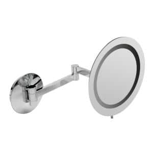 9 in. x 9 in. Round Frameless Wall Mounted LED Lighted Single 5X Mirror in Polished Chrome