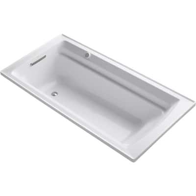 Archer 72 in. Rectangular Drop-in Air Bath Bathtub in White