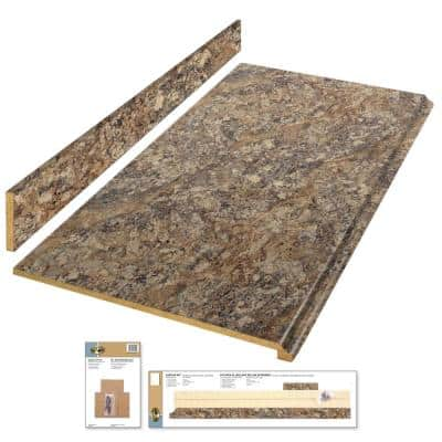 8 ft. Brown Laminate Countertop Kit with Full Wrap Ogee Edge in Winter Carnival Granite