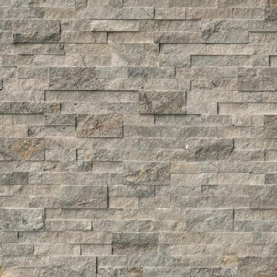 Take Home Tile Sample - Trevi Gray Ledger Panel 6 in. x 24 in. Natural Travertine Wall Tile - 6 in. x 6 in