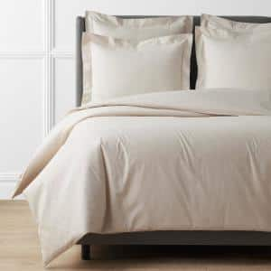 Oatmeal Solid Supima Cotton Percale Twin Duvet Cover