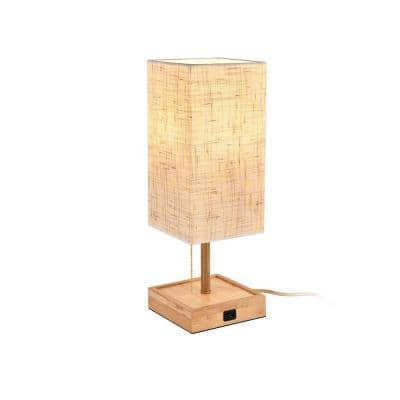 16.54 in. Beige Rectangle Shape Composite Outdoor Table Lamp with USB Port and Wi-Fi Smart LED Light Bulb