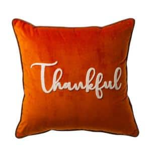 20 in.L X 20 in.W Velvet Pillow Cover With ''Thankful'' Word