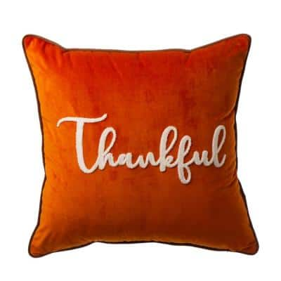 """20 in.L X 20 in.W Velvet Pillow Cover With """"Thankful"""" Word"""