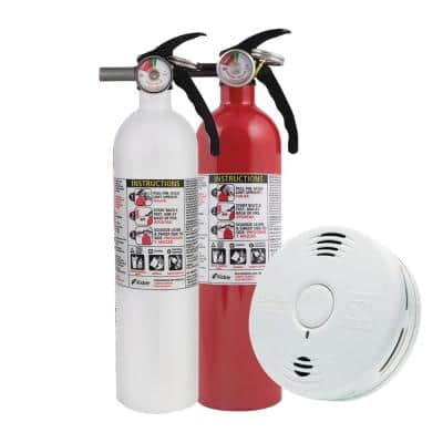 10-Year Worry-Free Home Fire Safety Kit, 2-Pack Smoke/CO Detector with Voice Alarm and 2-Pack Fire Extinguisher
