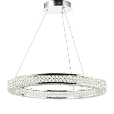 Benton 36-Watt Chrome/Clear Integrated LED Chandelier