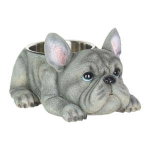 French Bulldog, 12 in. x 6 in. Resin Statue with Stainless Insert Bowl Dog in Grey