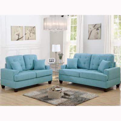 Basilicata 2-Piece Blue Sofa Set