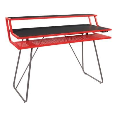 Glitch 47 in. Rectangular Red Computer Gaming Desk with Bluetooth LED Lights