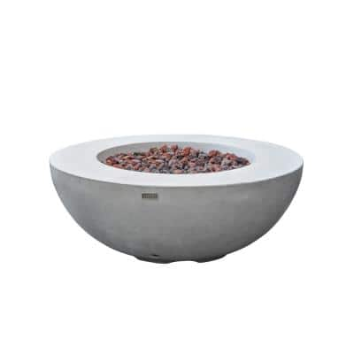 Lunar Bowl 42 in. x 16 in. Round Concrete Propane Fire Bowl Table in Light Gray