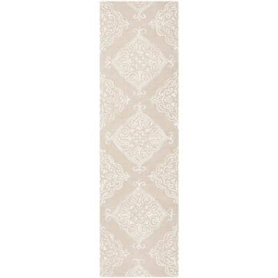 Glamour Beige/Ivory 2 ft. x 8 ft. Floral Runner Rug