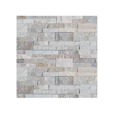 6 in. x 6 in. White Chestnut Natural Stacked Stone Veneer Siding Sample Swatch