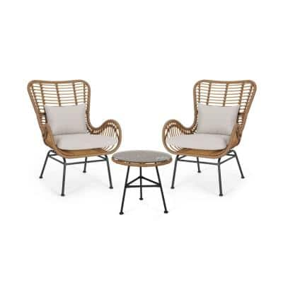 Acuna Light Brown 3-Piece Metal Patio Conversation Seating Set with Beige Cushions
