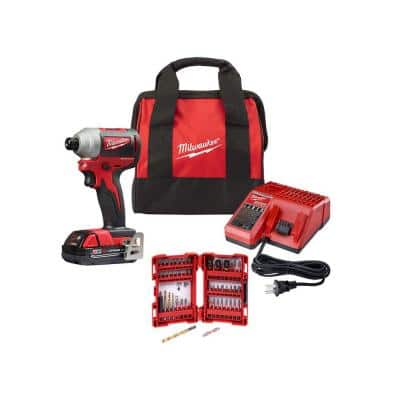 Milwaukee M18 18-Volt Lithium-Ion Compact Brushless Cordless 1/4-in Impact Driver Kit w/ (1) 2.0 Ah Battery, Charger & Bit Set