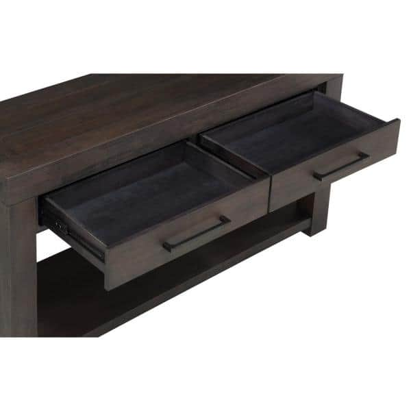 Heath 55 In Basalt Gray Rectangle Wood Console Table With 2 Drawers 3h5723 The Home Depot
