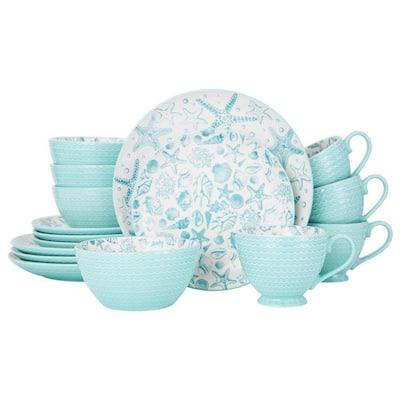 Venice 16-Piece Casual Aqua Stoneware Dinnerware Set (Set for 4)