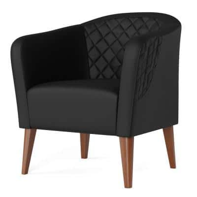 VeraBlack Faux Leather UpholsteredBarrel Accent Chair