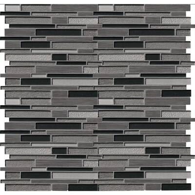 Metro Gris Interlocking 12 in. x 12 in. x 8 mm Textured Glass Stone Mesh-Mounted Mosaic Tile (10 sq. ft./case)