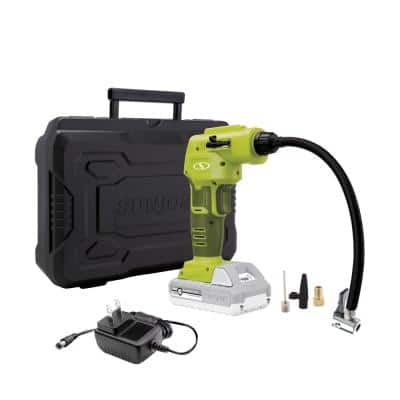 24-Volt Cordless Portable Inflator and Nozzle Adapters Kit with 2.0 Ah Battery + Charger