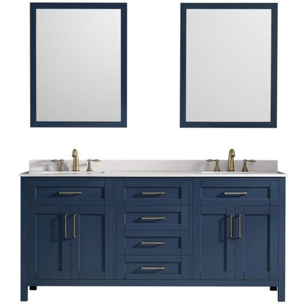 Ove Decors Tahoe 72 In W Double Sink Vanity In Midnight Blue With Cultured Marble Vanity Top In White With White Basins And Mirrors Kc Taho72 045ul The Home Depot