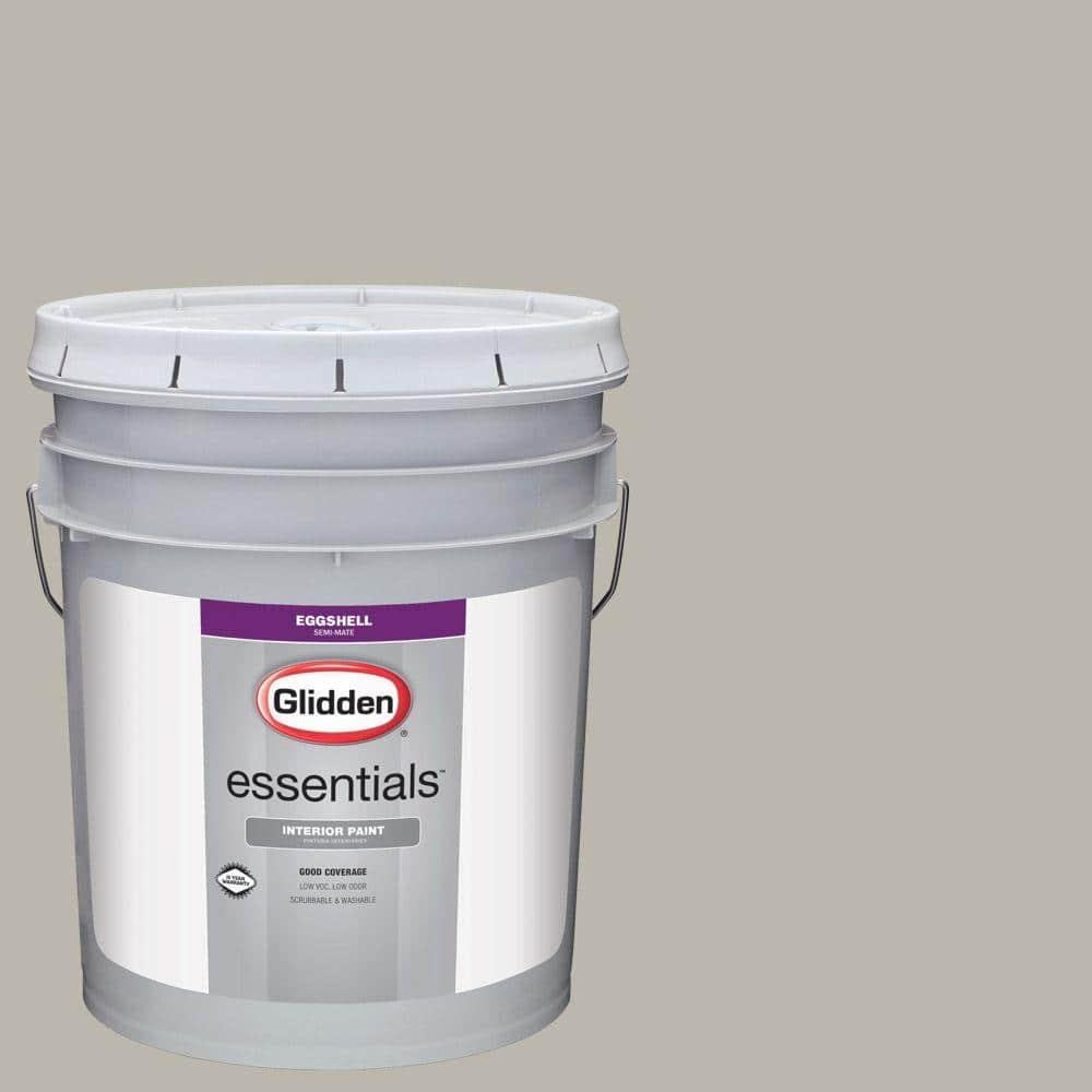 Glidden Essentials 5 Gal Hdgwn50 Pewter Grey Eggshell Interior Paint Hdgwn50e 05en The Home Depot