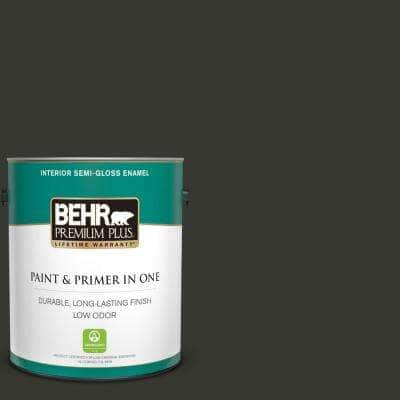 1 gal. #T13-3 Black Lacquer Semi-Gloss Enamel Low Odor Interior Paint and Primer in One