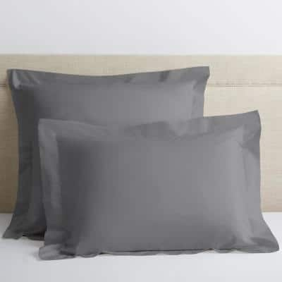 Pewter Solid 400-Thread Count Supima Cotton Percale Standard Sham