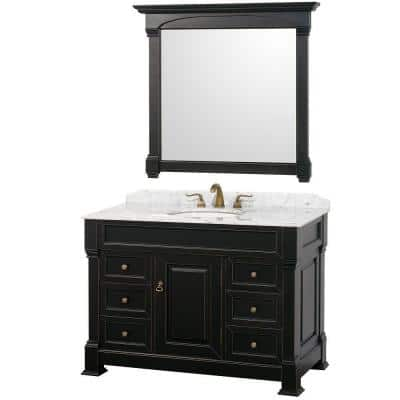 Andover 48 in. Vanity in Antique Black with Marble Vanity Top in Carrera White and Mirror