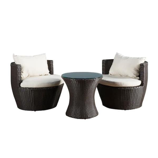 Noble House Kono Brown 3 Piece Wicker, 3 Piece Wicker Patio Conversation Set With Beige Cushions