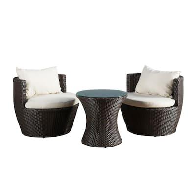 Kono Brown 3-Piece Wicker Patio Conversation Set with Beige Cushions