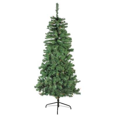 6 ft. Pre-Lit Alberta Pine Slim Artificial Christmas Tree with Multi Lights
