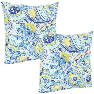 19 in. x 19 in. Outdoor Tufted Back Throw Pillow Cushions in Blue Paisley (2-Pack)