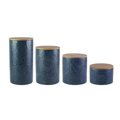 4-Piece Embossed Blue Stoneware Canister Set with Wood Lid