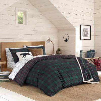 Woodland Tartan 3-Piece Green Plaid Cotton King Comforter Set