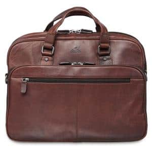 Buffalo Collection Brown Leather Expandable Double Compartment Briefcase for 15.6 in. Laptop/Tablet