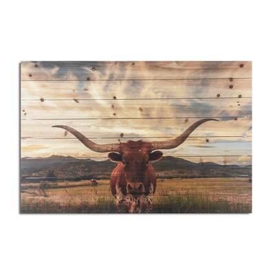 Longhorn Planked Wood Animal Art Print 24 in. x 36 in.