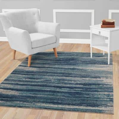 Jasmin Collection Stripes Design Teal and Navy 5 ft. 3 in. x 7 ft. Area Rug
