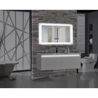 Encore BLU102 60 in. W x 27 in. H Rectangular LED Illuminated Bathroom Mirror with Bluetooth Audio Speakers
