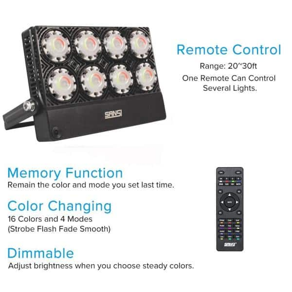 Sansi 50 Watt Black Rgb Color Changing Outdoor Integrated Led Flood Light With Remote Control 01 06 001 025061 The Home Depot