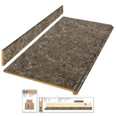 4 ft. Brown Laminate Countertop Kit with Full Wrap Ogee Edge in Breccia Marble