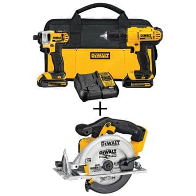 20-Volt MAX Cordless Drill/Impact Combo Kit (2-Tool) with (2) 20-Volt 1.3Ah Batteries, Charger & 6-1/2 in. Circular Saw