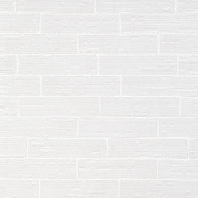 Rhythmic Stroke Polished White 2 in. x 9 in. Glazed Subway Clay Wall Tile (4.63 sq. ft./Case)