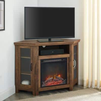 48 in. Rustic Oak Classic Traditional Wood Corner Fireplace Media TV Stand Console
