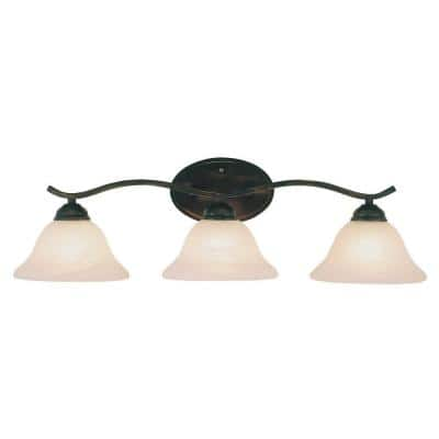Hollyslope 3-Light Rubbed Oil Bronze Vanity Light with Marbleized Glass Shades