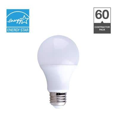60-Watt Equivalent A19 Dimmable Quick Install Contractor Pack LED Light Bulb in Soft White (60-Pack)