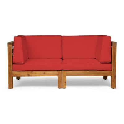 Oana Teak Brown 2-Piece Wood Outdoor Loveseat with Red Cushions