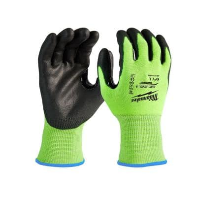 X-Large High Visibility Level 2 Cut Resistant Polyurethane Dipped Work Gloves (12-Pack)